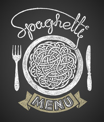 Spaghetti menu drawn on chalkboard