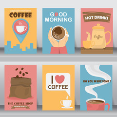 Retro design of Coffee Posters Set. can be use for background, backdrop, greeting and invitation card.  there are tea pot, coffee cup, bag and  bean. layout template in A4 size. vector illustration.