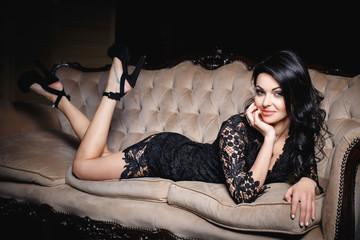 Beautiful woman in a sexy short dress