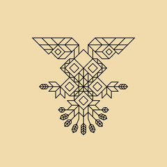 Tribal Owl Symbol. Ornate owl symbol in tribal style. Vintage Decoration Element. Line Art Design. Calligraphic Element. Geometric Style. Owl Icon. Outline Style. Abstract Emblem. Lineart Illustration