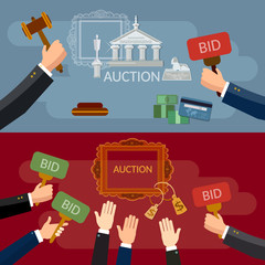 Auction and bidding banners sale antiques