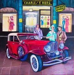 Original oil painting The vintage car