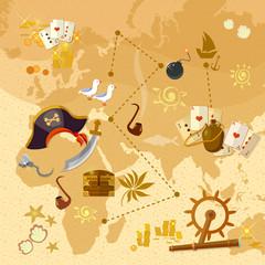 Pirate treasure map sea adventures