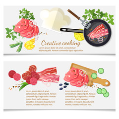 Cooking food banner top view meat and vegetables