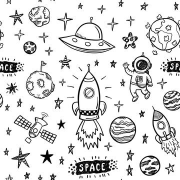Vector doodle space seamless pattern