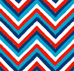 Blue White Red Painted Chevron Pattern