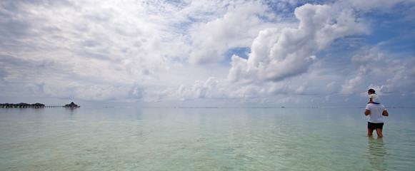 bassa marea alle Maldive