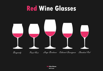 Red wine glass silhouettes vector