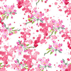 Pattern Springtime. branch of Apple and splatter watercolors, stained, pink paint, the Apple tree. Watercolor painting