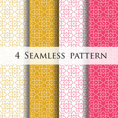Beautiful flower line decoration Seamless patterns.Vector illustration