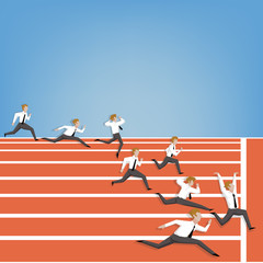 Businesspeople race on track (Leadership business concept cartoo