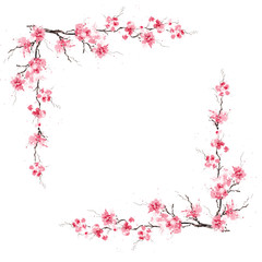 Spring sakura cherry frame. Original watercolor pattern.