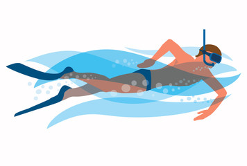 Snorkeling man. Man snorkeling in the ocean waves. Vector available.