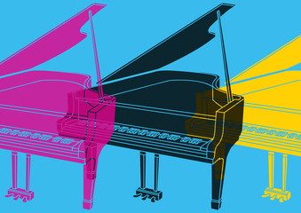 Pop art,  piano à queue