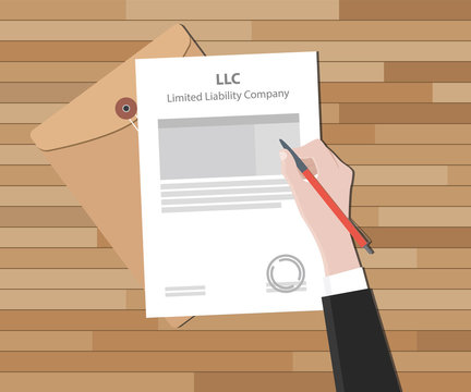 llc limited liability company with document and sign paper