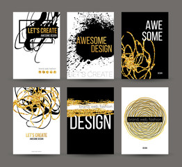 A set of brochures with golden hand-drawn design elements. Vector brochure templates, posters, flyers, brand. Golden, black, white backgrounds, patterns, textures and elements. Vector illustration