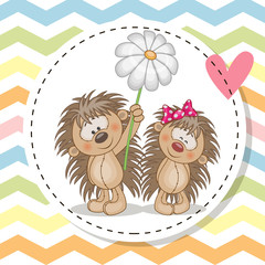 Greeting card with two Hedgehogs