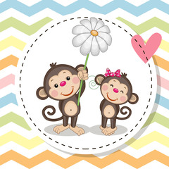 Greeting card with two Monkeys