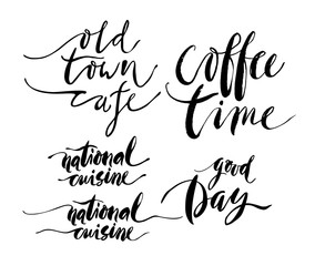 Coffe and cuisine theme lettering inscriptions.
