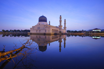 Blue hour scene at Kota Kinabalu Mosque, Sabah Borneo, Malaysia.