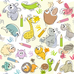 seamless pattern with  kids' drawings of animals - vector illustration, eps
