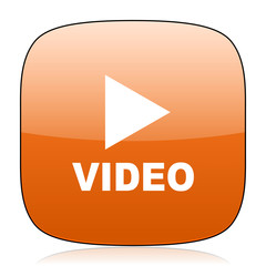 video orange square web design glossy icon