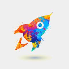 Rocket. Rainbow splash paint