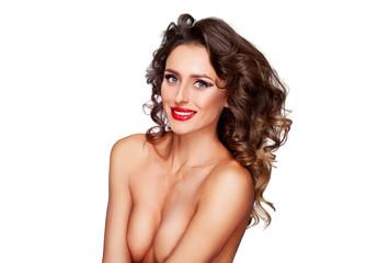 Beautiful nude fashion female model with professional makeup