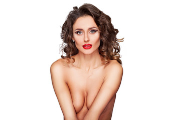 Fashion model with  posing in studio topless