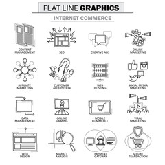 vector icon collection of concept of internet commerce