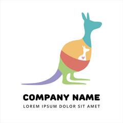 Modern flat logo. Kangaroo with a baby.