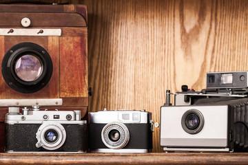 Photographer's cupboard. Vintage cameras. Vintage atelier.