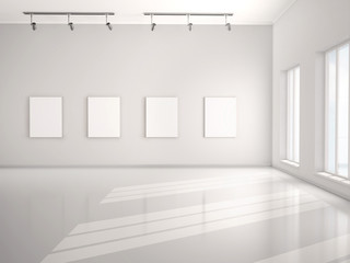 3d illustration of Great white canvas hanging in an empty open-p