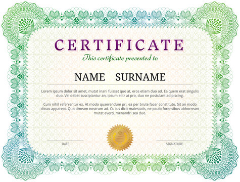 Certificate template with guilloche elements. Green diploma border design for personal conferment. Vector layout for award, patent, validation, licence, education, authentication, achievement, etc