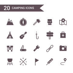 camping icon set vector. Silhouette icons.