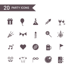 party new year icon set vector.Silhouette icons.