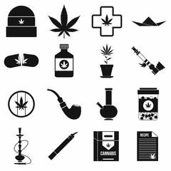 Marijuana icons set, simple style
