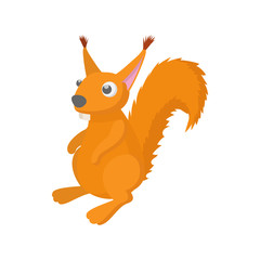 Wall Murals Birds, bees Red squirrel icon, cartoon style
