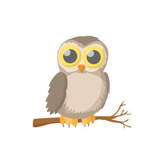 Owl icon, cartoon style