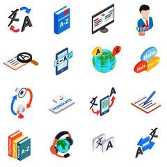 Translator icons set, isometric 3d style