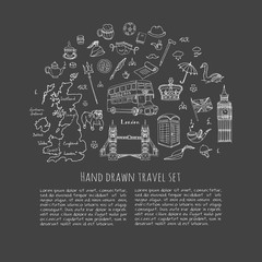 Hand drawn doodle England set Vector illustration United Kingdom icons  Welcome to London elements British symbols collection Bus Horse riding Golf Crown Beer Lion Bulldog London bridge Big Ben Tower