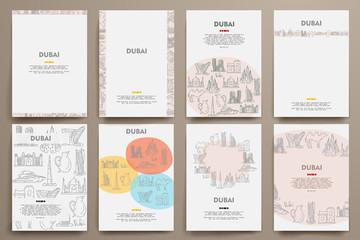 Corporate identity vector templates set with doodles Dubai theme