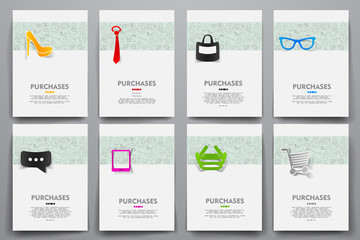 Corporate identity vector templates set with doodles sale theme