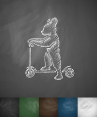 bear scooter icon. Hand drawn vector illustration