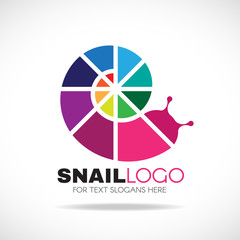 Circlie colorful rainbow snail logo vector design