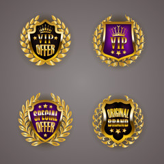 Golden badges with laurel wreath