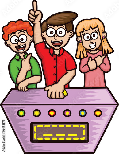 """""""Game Shows Contestants Cartoon Illustration Isolated on ..."""