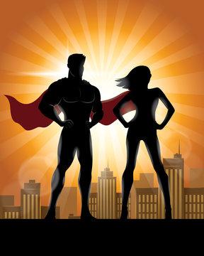 Superhero Couple Silhouette with City Skyline Background