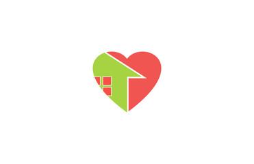 heart love arrow home icon logo