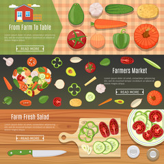 Fresh Vegetables Banners Set